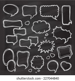 Speech bubbles doodles set in black chalkboard