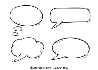Speech bubbles. Doodles set. Vector illustration isolated on white background