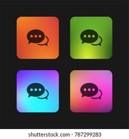 Speech bubbles with ellipsis four color gradient app icon design