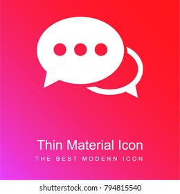 Speech bubbles with ellipsis red and pink gradient material white icon minimal design