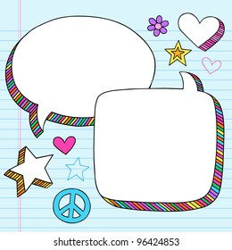 Speech Bubbles Frames Notebook Doodles- Back to School Hand Drawn Design Elements on Lined Sketchbook Paper Background- Vector Illustration