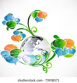 speech bubbles with globe-vector background