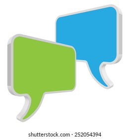 speech bubbles green blue in perspective on white background