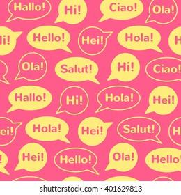 Speech bubbles greetings different languages english stock vector speech bubbles with greetings in different languages english french german italian m4hsunfo