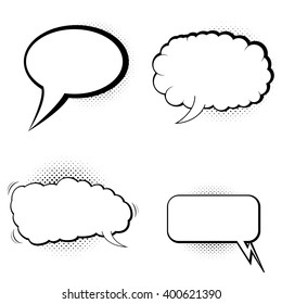 Speech bubbles with halftone shadow. Vector illustration.