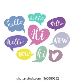Speech bubbles with Hello Hi New handwritten words. Hand drawn vector. Friendship design