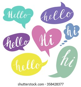 Speech bubbles with Hello word. Hand drawn vector