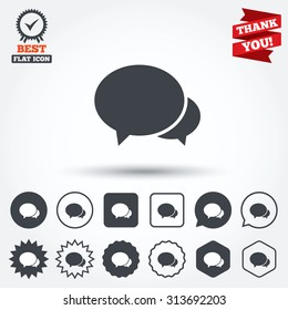 Speech bubbles icon. Chat or blogging sign. Communication symbol. Circle, star, speech bubble and square buttons. Award medal with check mark. Thank you. Vector