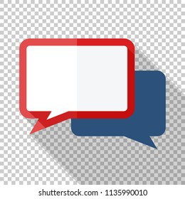 Speech bubbles icon in flat style with long shadow on transparent background