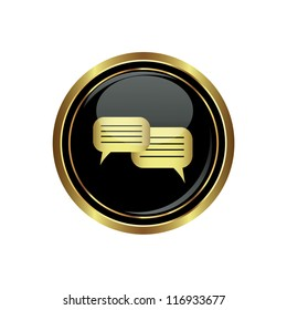 Speech bubbles icon on the black with gold round button. Vector illustration