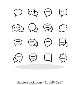 Speech bubbles icon set in flat style. Communication symbol for your web site design, logo, app, UI Vector EPS 10.