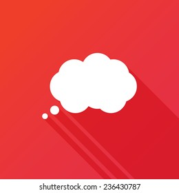 Speech bubbles icon vector icon. Flat design style with long shadow. Thinking vector symbol. Communication bubble. Thought bubble vector icon. Chat think symbol.