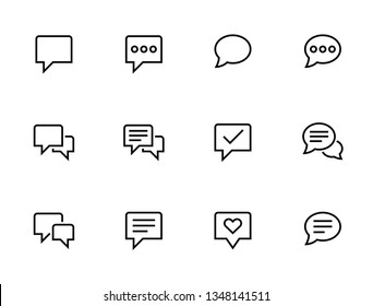 Speech bubbles icons. Set of Communication outline vector icons.