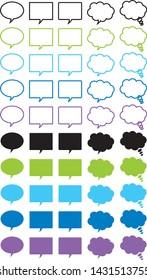 Speech bubbles illustration set (cold colors)