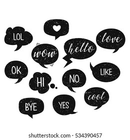 Speech bubbles isolated. Vector illustration, eps10. Hi, lol, ok, love, yes, no, bye, cool. Grunge texture. Easy to edit design for stickers, icons.