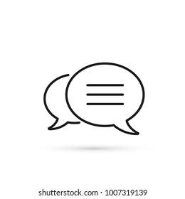 Speech bubbles outline Icon, vector flat design symbol.