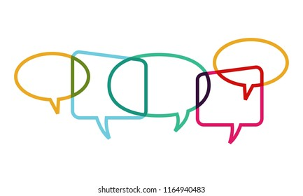 Speech bubbles overlapping symbolize the activities of social interaction to discuss current issues