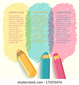 Speech bubbles with pencils. Vector illustration. Place for text.