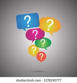 Speech bubbles with question concept design