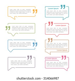 Speech bubbles with quote marks, vector eps10 illustration