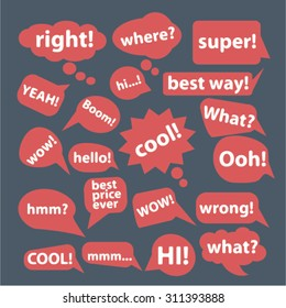 speech, bubbles, say, hello concept icons, signs set, vector