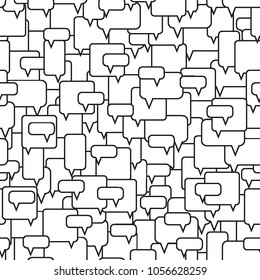 Speech bubbles seamless pattern. Message boxes. Diversity of opinions in the crowd. Symbolic discussion. Black and white vector illustration.