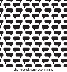 Speech bubbles seamless pattern. Message boxes. Symbolic discussion. Black and white vector illustration.