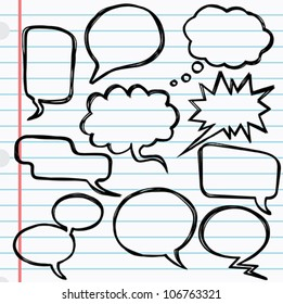 Speech bubbles - A set of 10 speech bubbles with a scribble effect.