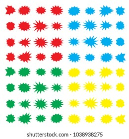 Speech bubbles set with 64 basic color bursting icon. Illustration label or star sticker vector batch for sale advertisement.
