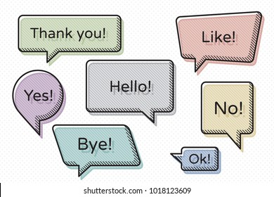 Speech Bubbles Set of Diagonal Strokes Colored Sketch Style Trendy Shapes with Popular Speech Phrases - Black and Multicolor Elements on White Dots Wallpaper Background - Vector Flat Graphic Design