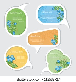 Speech bubbles set with floral elements