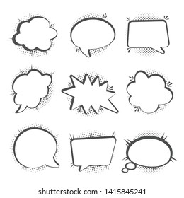 Speech bubbles set, Halftone shadows, vector illustration