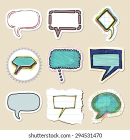 Speech bubbles set. Hand drawn and isolated. Stickers
