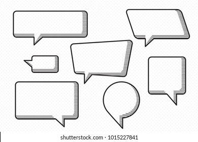 Speech Bubbles Set of Horizontal Strokes Accurate Sketch Style Circle and Rectangle Blank Trendy Shapes - Black Elements on White Dots Wallpaper Background - Vector Flat Graphic Design