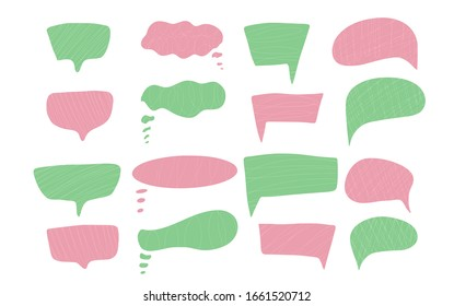 Speech bubbles set isolated on white background. collection of ballons for text. Bundle of hand drawn conversation elements. Vector illustartion.