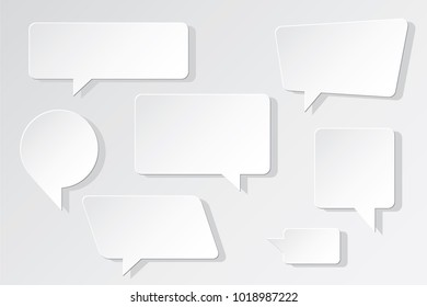 Speech Bubbles Set Made as Blank Paper Pieces with Distorted Circle Rectangle and Square Trendy Shapes - Grey Elements on Similar Background - Vector Gradient Graphic Design