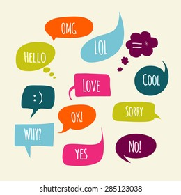 Speech bubbles set with short messages.