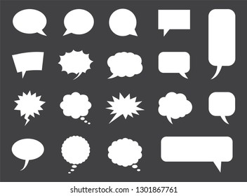 speech bubbles set in vector, blank empty comic clouds