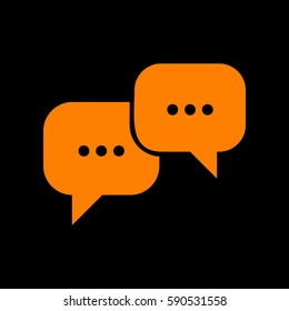 Speech bubbles sign. Orange icon on black background.