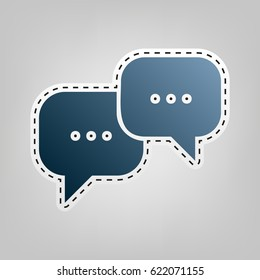 Speech bubbles sign. Vector. Blue icon with outline for cutting out at gray background.
