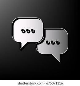 Speech bubbles sign. Vector. Gray 3d printed icon on black background.