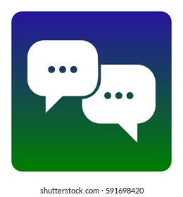 Speech bubbles sign. Vector. White icon at green-blue gradient square with rounded corners on white background. Isolated.
