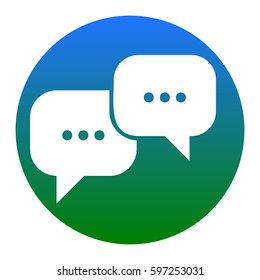 Speech bubbles sign. Vector. White icon in bluish circle on white background. Isolated.