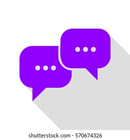 Speech bubbles sign. Violet icon with flat style shadow path.