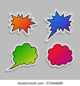 Speech bubbles stickers - vector halftone set. Pin up collection.