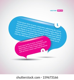 Speech bubbles with strong pink and blue colors