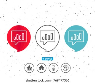 Speech bubbles with symbol. Chart line icon. Report graph or Sales growth sign in speech bubble. Analysis and Statistics data symbol. Bonus with different classic signs. Random circles background