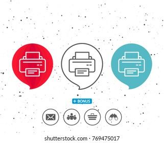 Speech bubbles with symbol. Printer icon. Printout Electronic Device sign. Office equipment symbol. Bonus with different classic signs. Random circles background. Vector