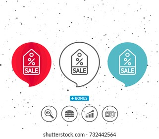 Speech bubbles with symbol. Shopping tag line icon. Sale Special offer sign. Discount coupon symbol. Bonus with different classic signs. Random circles background. Vector
