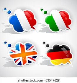 Speech bubbles with symbols national flags